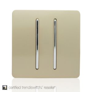 Trendi, Artistic Modern 2 Gang Retractive Home Auto.Switch Champagne Gold Finish, BRITISH MADE, 5yrs warranty