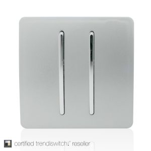 Trendi, Artistic Modern 2 Gang Retractive Home Auto.Switch Silver Finish, BRITISH MADE, 5yrs warranty