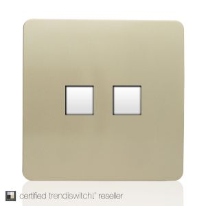 Trendi, Artistic Modern RJ11 Telephone & PC Ethernet Champagne Gold Finish, BRITISH MADE, 5yrs warranty