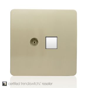 Trendi, Artistic Modern TV Co-Axial & RJ11 Telephone Champagne Gold Finish, BRITISH MADE, 5yrs warranty