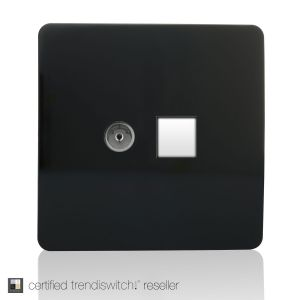Trendi, Artistic Modern TV Co-Axial & PC Ethernet  Gloss Black Finish, BRITISH MADE, 5yrs warranty