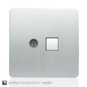 Trendi, Artistic Modern TV Co-Axial & PC Ethernet  Silver Finish, BRITISH MADE, 5yrs warranty