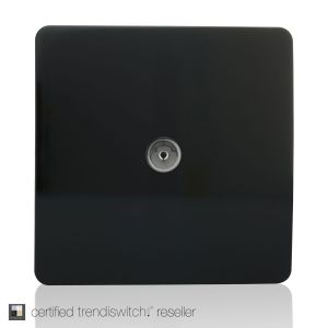 Trendi, Artistic Modern TV Co-Axial 1 Gang Gloss Black Finish, BRITISH MADE, 5yrs warranty