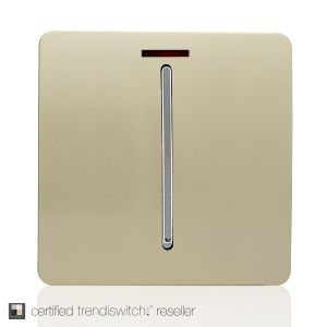 Trendi, Artistic Modern 20 Amp Neon Insert Double Pole Switch Champagne Gold Finish, BRITISH MADE, 5yrs warranty
