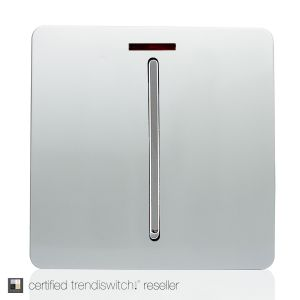 Trendi, Artistic Modern 20 Amp Neon Insert Double Pole Switch Silver Finish, BRITISH MADE, 5yrs warranty