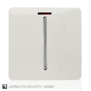 Trendi, Artistic Modern 20 Amp Neon Insert Double Pole Switch Gloss White Finish, BRITISH MADE, 5yrs warranty