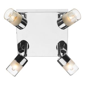 DAR ART8550 Artemis 4 Light Bathroom Flush Polished Chrome/Frosted Glass Finish