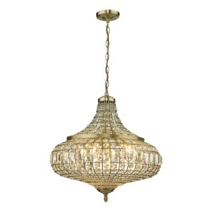 Asmara 6 Light Pendant Antique Brass Crystal