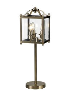 Diyas IL31117 Aston Table Lamp 3 Light E14 Antique Brass/Glass