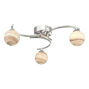 Atiya 3 Light Semi Flush Ceiling Light Polished Chrome With Planet Style Glass
