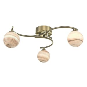 Atiya 3 Light Semi Flush Antique Brass With Planet Style Glass