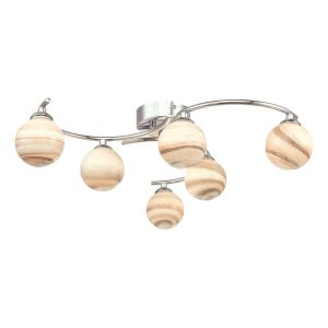 Atiya 6 Light Semi Flush Polished Chrome With Planet Style Glass