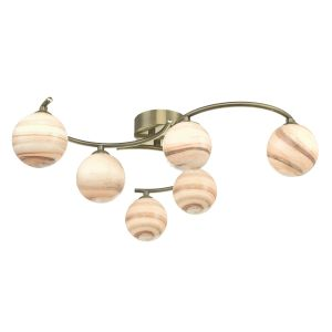 Atiya 6 Light Semi Flush Ceiling Light Antique Brass With Planet Art Glass