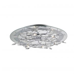 Diyas IL30631  Aurora Ceiling Round 6 Light With RGB LEDs Polished Chrome/Crystal