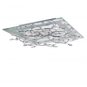 Diyas IL30632  Aurora Ceiling Square 6 Light With RGB LEDs Polished Chrome/Crystal