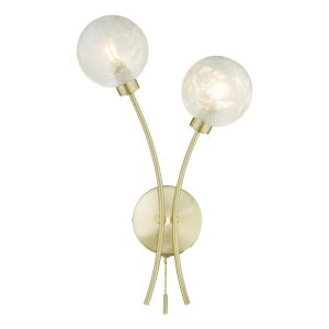 Avari 2 Light Wall Light Satin Brass Glass