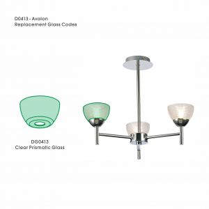Deco DG0413 Avalon Replacement Clear Prismatic Glass For D0413, D0414, D0415
