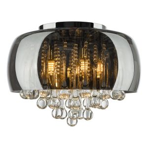 Aviel 5 Light G9 Smoked Shade Flush Ceiling Light With Clear Glass Droppers