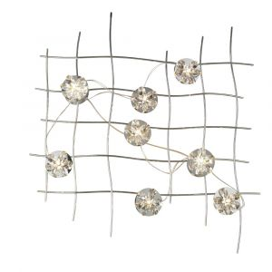 Diyas Home IL70019  (DH) Aviance Illuminated Large Switched 8 Light Wall Lamp Art Polished Chrome/Crystal