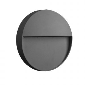 Baker Wall Lamp Small Round, 3W LED, 3000K, 155lm, IP54, Anthracite, 3yrs Warranty