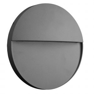 Baker Wall Lamp Large Round, 6W LED, 3000K, 275lm, IP54, Anthracite, 3yrs Warranty