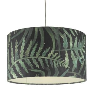 Bamboo Non Electric Pendant Green Leaf Print Large Finish