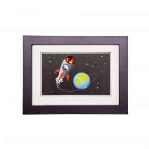 Diyas Home IL70524 (DH) Bambino Rocket In Space, Black Frame Red Crystal