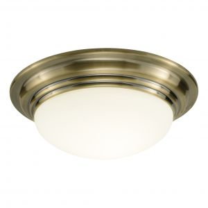 DAR BAR5075 Barclay Single Bathroom Flush Antique Brass/Opal Glass Finish