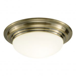 DAR BAR5275 Barclay Single Flush Antique Brass/Opal Glass Finish