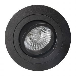 Basico GU10 Swivel Downlight 9.2cm Round, 1 x GU10 Max 50W, Sand Black
