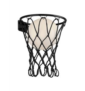 Basketball Wall Lamp, 1 x E27, Matt Black