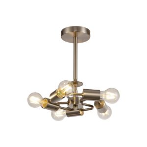 Baymont Satin Nickel 5 Light E27 Universal Semi Ceiling Fixture, Suitable For A Vast Selection Of Shades