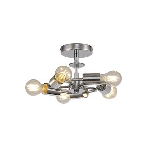 Baymont Polished Chrome 5 Light E27 Universal Flush Ceiling Fixture, Suitable For A Vast Selection Of Shades