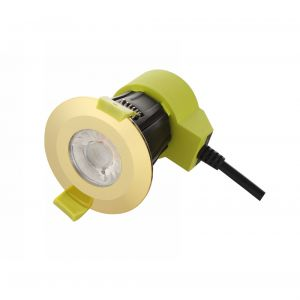 Bazi, 10W, 350mA, Polished Brass, Dimmable LED Downlight, Cut Out: 70mm, 840lm, 38° Deg, 5000K, IP65, DRIVER INC., 5yrs Warranty