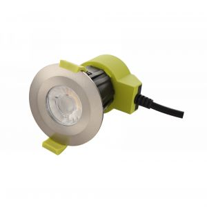Bazi, 10W, 350mA, Satin Nickel, Dimmable LED Downlight, Cut Out: 70mm, 840lm, 38° Deg, 5000K, IP65, DRIVER INC., 5yrs Warranty