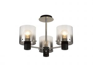 Nu Blok Semi Ceiling Flush, 3 Light Semi-Flush Fitting, Black/Smoke Fade Glass