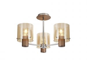 Nu Blok Semi Ceiling Flush, 3 Light Semi-Flush Fitting, Mocha/Amber Fade Glass