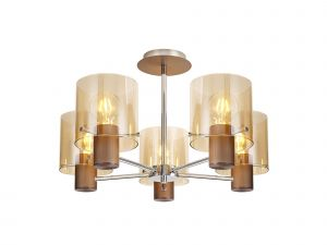 Nu Blok Semi Ceiling Flush, 5 Light Semi-Flush Fitting, Mocha/Amber Fade Glass