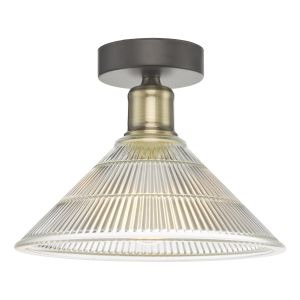 Boyd 1 Light Flush Antique Brass with Glass Shade