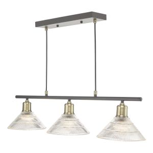 Boyd 3 Light Bar Antique Brass with Glass Shade