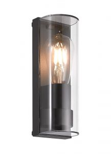 Burgate Wall Lamp Curved, 1 x E27, IP65, Anthracite, 2yrs Warranty
