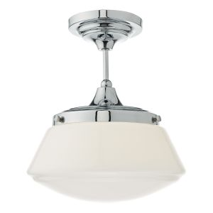 DAR CAD0150 Caden Single Bathroom Semi Flush Polished Chrome/Opal Glass Finish