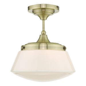 Caden Semi Flush Antique Brass Opal Glass IP44