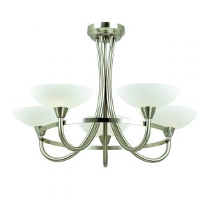 Cagney 5lt Semi flush Satin Chrome IP20 Traditional Ceiling Lights