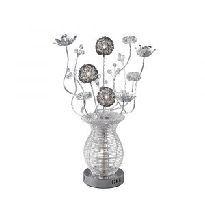 Diyas Home IL70385 (DH) Calista Table Lamp 4 Light Silver/Black/Crystal