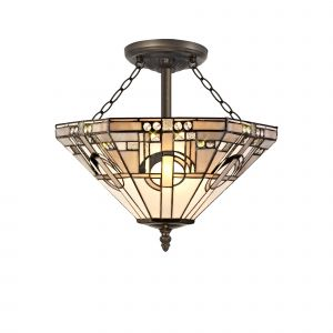 Nu Calpe, Tiffany 40cm Shade, White/Grey/Black/Clear Crystal c/w Semi Ceiling Kit, 3 x E27, Aged Antique Brass