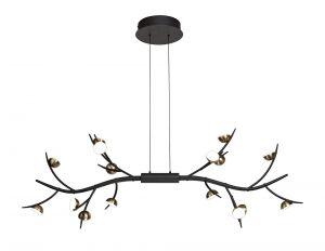 Nu Camino 16 Light Linear Pendant, 16 x 3W LED, 3000K, 2640lm, Black/Antique Brass, 3yrs Warranty
