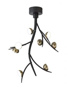 Nu Camino 8 Light Ceiling Pendant, 8 x 3W LED, 3000K, 1320lm, Black/Antique Brass, 3yrs Warranty