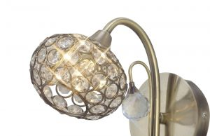 Diyas ILG30941 Cara Shade Antique Brass / Crystal