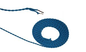 Cavo 1m Blue Braided Twisted 2 Core 0.75mm Cable VDE Approved (qty ordered will be supplied as one continuous length)